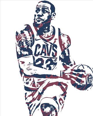 Mixed Media - Lebron James Cleveland Cavaliers Pixel Art 50 by Joe Hamilton