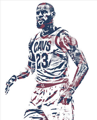 Lebron James Wall Art - Mixed Media - Lebron James Cleveland Cavaliers Pixel Art 51 by Joe Hamilton