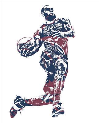 Mixed Media - Lebron James Cleveland Cavaliers Pixel Art 52 by Joe Hamilton