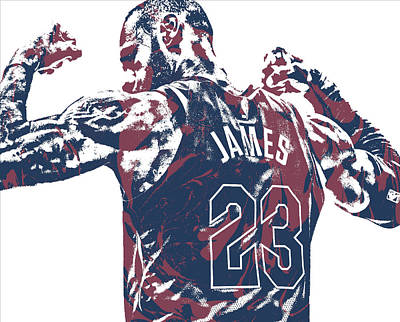 Lebron James Wall Art - Mixed Media - Lebron James Cleveland Cavaliers Pixel Art 53 by Joe Hamilton