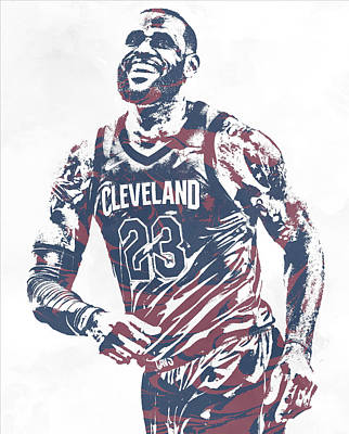 Mixed Media - Lebron James Cleveland Cavaliers Pixel Art 60 by Joe Hamilton