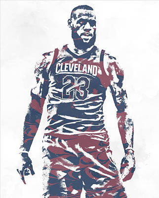 Mixed Media - Lebron James Cleveland Cavaliers Pixel Art 61 by Joe Hamilton