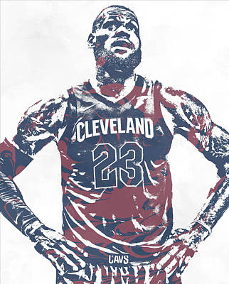 Mixed Media - Lebron James Cleveland Cavaliers Pixel Art 62 by Joe Hamilton