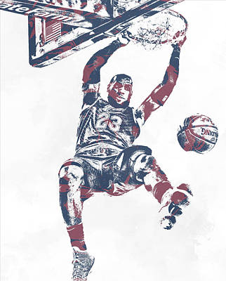 Mixed Media - Lebron James Cleveland Cavaliers Pixel Art 64 by Joe Hamilton
