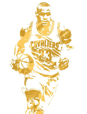 Team Mixed Media - Lebron James Cleveland Cavaliers Pixel Art 7 by Joe Hamilton