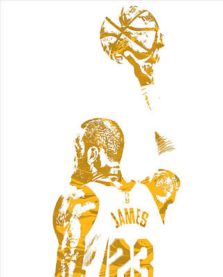 Lebron James Wall Art - Mixed Media - Lebron James Cleveland Cavaliers Pixel Art 71 by Joe Hamilton