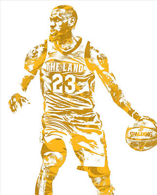 Lebron James Wall Art - Mixed Media - Lebron James Cleveland Cavaliers Pixel Art 72 by Joe Hamilton