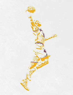 Athletes Mixed Media - Lebron James Cleveland Cavaliers Pixel Art by Joe Hamilton