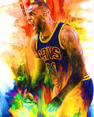Lebron James Cleveland Cavs Digital Painting 2 Art Print by David Haskett
