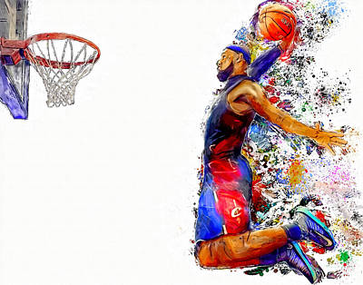 Basketball Abstract Painting - Lebron James Dunk In Color Painting by Andres Ramos