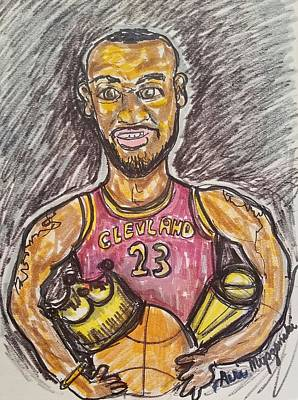 Lebron Drawing - Lebron James by Geraldine Myszenski