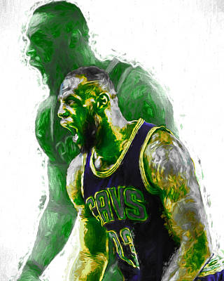 Lebron James Green Rage Hulk Cleveland Cavs Digital Painting Art Print by David Haskett