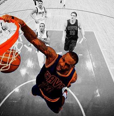 Lebron James In Flight 23 Art Print by Brian Reaves
