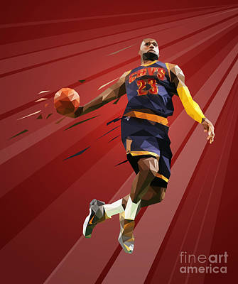Digital Art - Lebron James In Low Poly by Jerome Obille