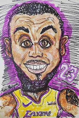 Athletes Mixed Media - Lebron James Los Angeles Lakers by Geraldine Myszenski