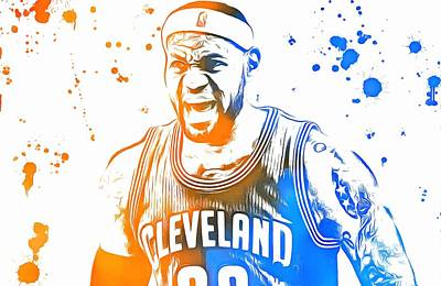 Lebron James Paint Splatter Art Print by Dan Sproul