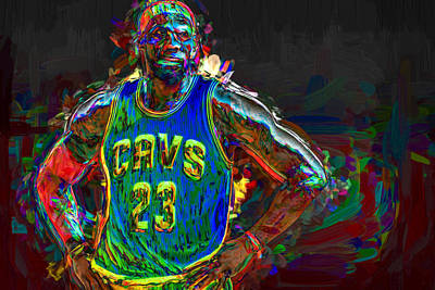 Lebron James Painted Art Print by David Haskett