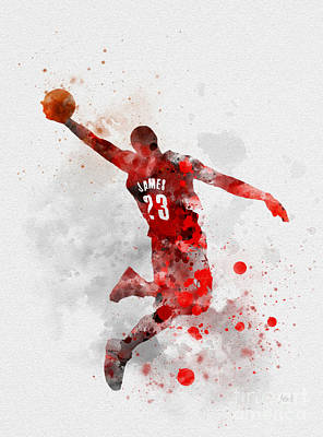 Athletes Mixed Media - Lebron James by Rebecca Jenkins