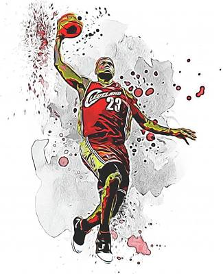 Lebron Mixed Media - Lebron James Slam Dunk by Dan Sproul