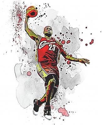 Athletes Mixed Media - Lebron James Slam Dunk by Dan Sproul