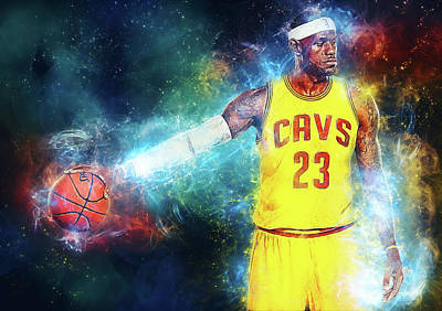 Kobe Bryant Digital Art - Lebron James by Taylan Apukovska