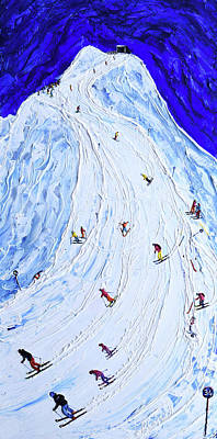 Painting - Lech  Piste 200 Or  Piste 34 In Old Numbers by Pete Caswell