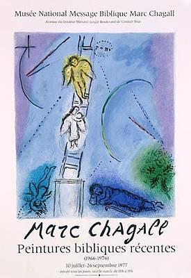 Mourlot Painting - L'echelle De Jacob by Marc Chagall