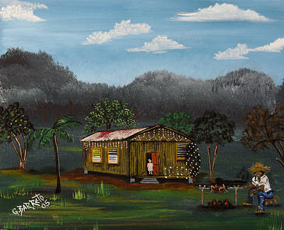 Puerto Rico Painting - Lecheon A La Bara by Gloria E Barreto-Rodriguez