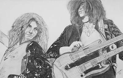 Led Zeppelin Drawing - Led Zep 1975 by Manon Zemanek