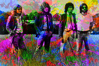 Led Zeppelin Mixed Media - Led Zeppelin Band Portrait Paint Splatters Pop Art by Design Turnpike