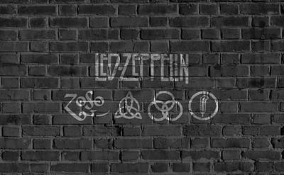 Musicians Digital Art Rights Managed Images - Led Zeppelin Brick Wall Royalty-Free Image by Dan Sproul
