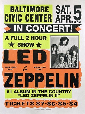 Jimmy Page Photograph - Led Zeppelin Concert Poster 1970 by Daniel Hagerman