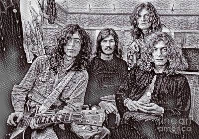 Led Zeppelin Drawing - Led Zeppelin Drawing by Pd