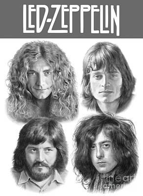 Led Zeppelin Drawing - Led Zeppelin - Jimmy Page Robert Plant, John Bonham, John Paul Jones by Vlado Ondo