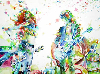 Robert Plant Painting - Led Zeppelin Live Concert - Watercolor Portrait.1 by Fabrizio Cassetta
