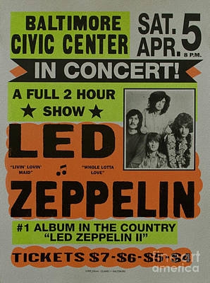 At Poster Mixed Media - Led Zeppelin Live In Concert At The Baltimore Civic Center Poster by R Muirhead Art
