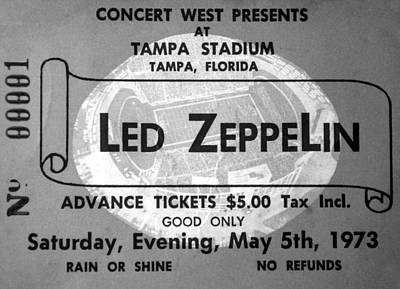 Led Zepplin Ticket Tampa Stadium 1973 Art Print by David Lee Thompson