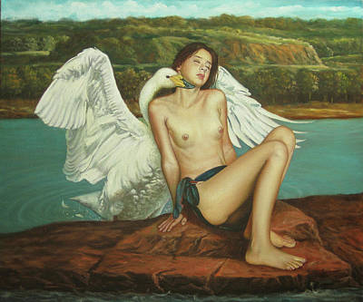 Leda And The Swan - Passionate Art Print by Giovanni Rapiti