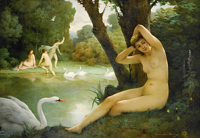 Leda And The Swan Painting - Leda And The Swan by Emmanuel Benner