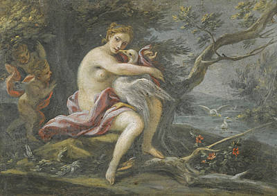 Leda And The Swan Painting - Leda And The Swan by Filippo Falciatore