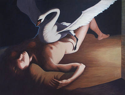 Leda And The Swan Art Print by James LeGros