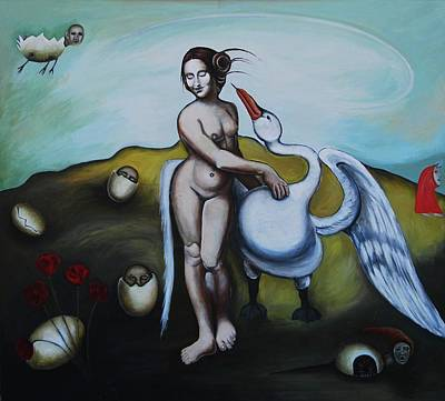 Painting - Leda And The Swan by Lynda Diamond