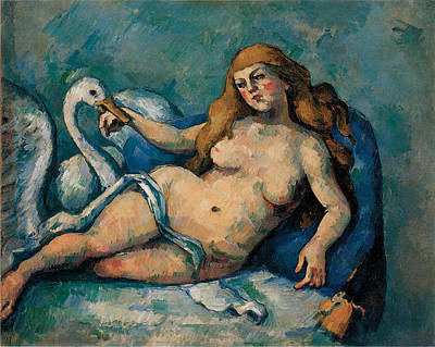 Leda And The Swan Painting - Leda And The Swan by Paul Cezanne