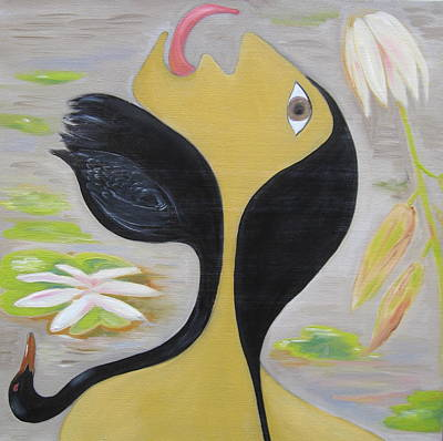 Lilly Pond Painting - Leda And The Swan by Sue Wright