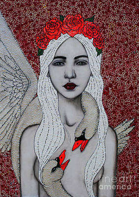 Mixed Media - Leda And The Swans by Natalie Briney