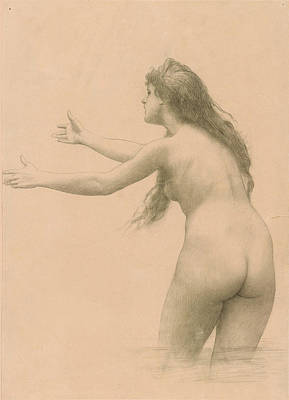 Jean-leon Gerome Drawing - Leda by Jean-Leon Gerome