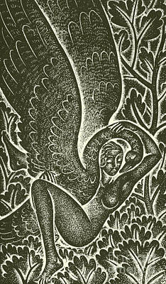 Swan Drawing - Leda Loved by Eric Gill