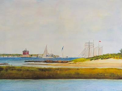 Ledge Light Lighthouse New London Waterford Beach Ct Original by Patty Kay Hall