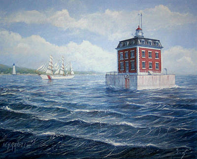 Tall Ships. Marine Art Painting - Ledge Lighthouse by William H RaVell III
