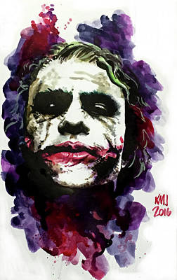 Heath Ledger Wall Art - Painting - Ledgerjoker by Ken Meyer